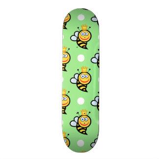 Cute Queen Bee, Light Green & White Polka Dots Skate Board