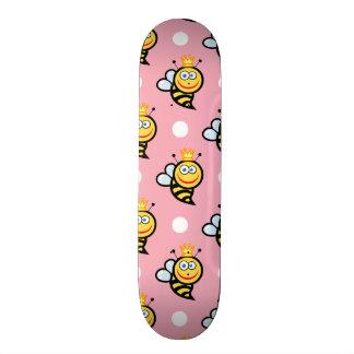 Cute Queen Bee, Light Pink & White Polka Dots Custom Skate Board