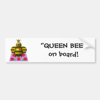 Cute queen bee on a quilt bumper sticker