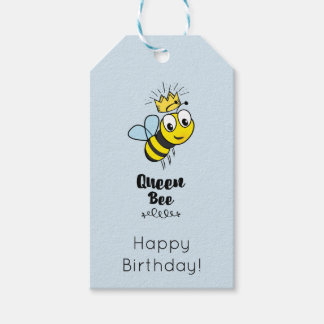 Cute Queen Bee with Crown Happy Birthday Gift Tags