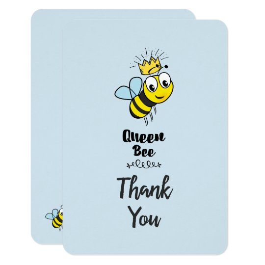 Cute Queen Bee with Crown Thank You Card