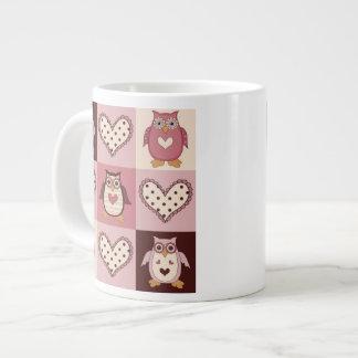 Cute Quilt Squares Retro Owls Valentine Tees, Gift Jumbo Mug