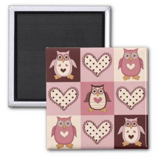 Cute Quilt Squares Retro Owls Valentine Tees, Gift Square Magnet
