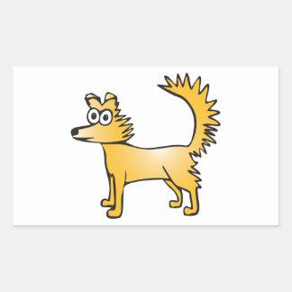 Cute quirky cartoon dog rectangular sticker