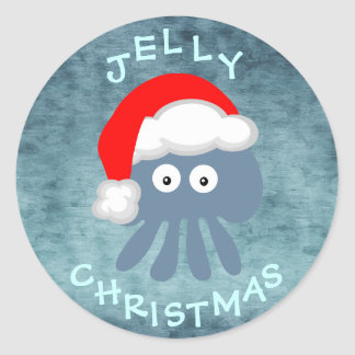 Cute & Quirky Jelly Christmas Jellyfish Santa Round Sticker