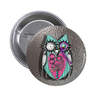 Cute Quirky Owl Steam Punk Style Pink Teal Silver 6 Cm Round Badge