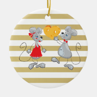 Cute Quirky Whimsical  Mouses-Stripes Christmas Ornament