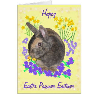 Cute Rabbit and flowers Easter, Passover, Eastover Greeting Card