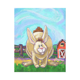 Cute Rabbit Animal Parade Canvas Print