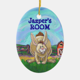 Cute Rabbit Animal Parade Ceramic Oval Decoration