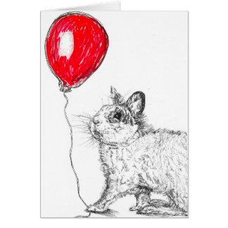 Cute Rabbit Balloon Birthday Celebration Note Card