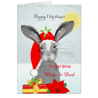 Cute Rabbit Christmas Holiday Personalized Special Greeting Card