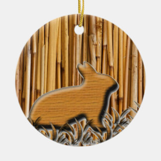 Cute Rabbit On Bamboo Background Christmas Ornament
