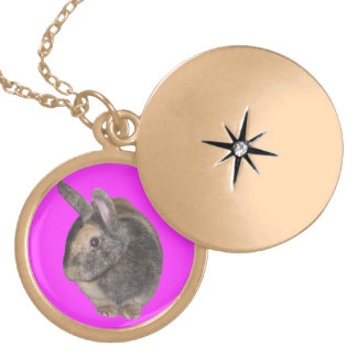 Cute Rabbit Photo Necklaces. Round Locket Necklace