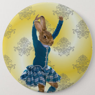 Cute rabbit Scottish highland dancer 6 Cm Round Badge