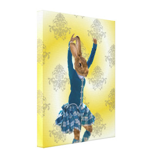 Cute rabbit Scottish highland dancer Gallery Wrapped Canvas
