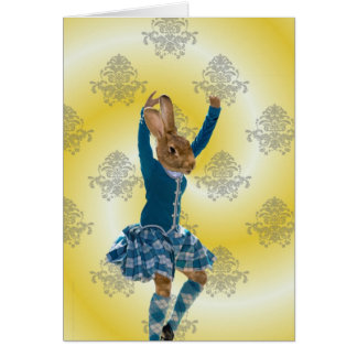 Cute rabbit Scottish highland dancer Card