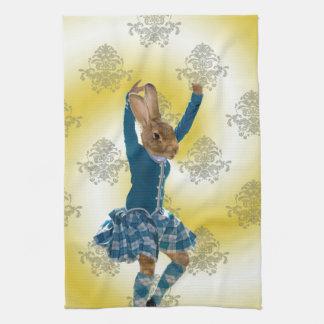 Cute rabbit Scottish highland dancer Kitchen Towel