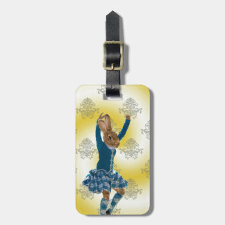 Cute rabbit Scottish highland dancer Luggage Tag