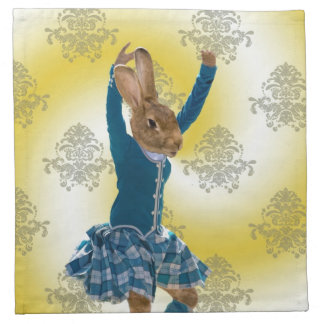Cute rabbit Scottish highland dancer Napkin