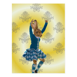 Cute rabbit Scottish highland dancer Postcard