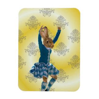 Cute rabbit Scottish highland dancer Rectangular Photo Magnet