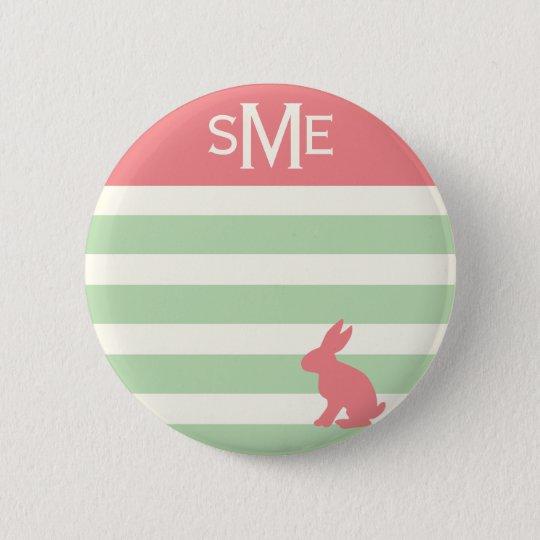 Cute rabbit stripe personalised monogram 6 cm round badge