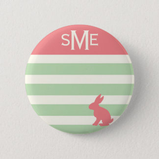 Cute rabbit stripe personalized monogram 6 cm round badge