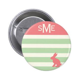 Cute rabbit stripe personalized monogram 6 cm round badge