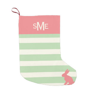 Cute rabbit stripe personalized monogram small christmas stocking