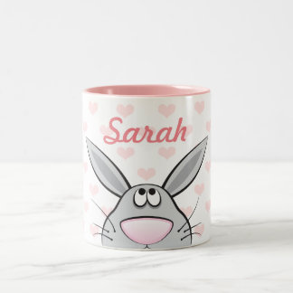 Cute Rabbit with Girls's name, custom color hearts Two-Tone Coffee Mug