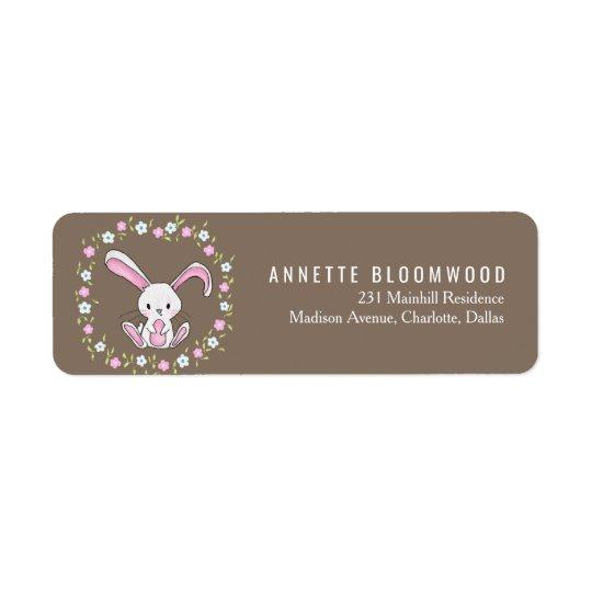 Cute Rabbit Woodland Pink Floral Baby Shower Return Address Label