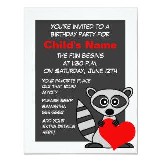 Cute Raccoon and Heart Birthday Invitation