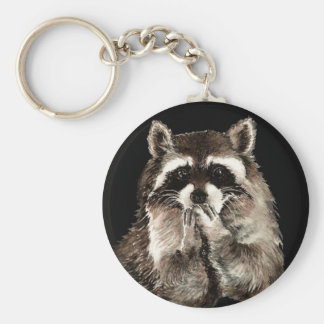Cute Raccoon Blowing Kisses Humor animal art Key Ring