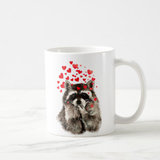 Cute Raccoon Blowing Kisses Love Hearts Basic White Mug