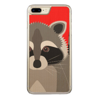Cute Raccoon Drawing Carved iPhone 7 Plus Case