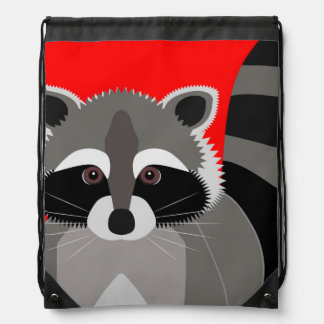 Cute Raccoon Drawing Drawstring Backpack