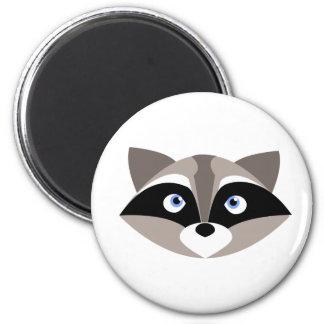 Cute Raccoon Face 6 Cm Round Magnet