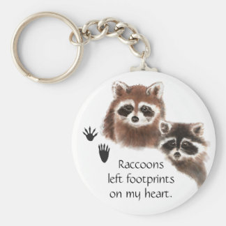 Cute Raccoon left footprints on my heart, humor Basic Round Button Key Ring