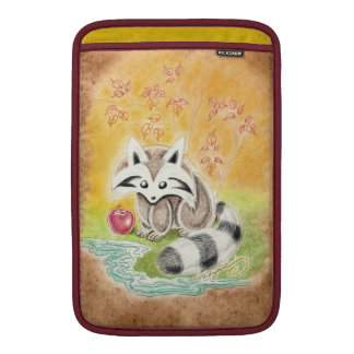 Cute raccoon with red apple near pond MacBook sleeve