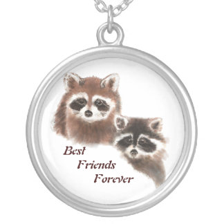 Cute Raccoons, Best Friends Forever, BFF, Silver Plated Necklace