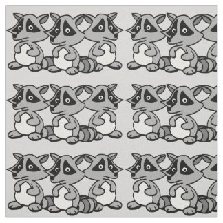 Cute Raccoons Graphic Design Fabric