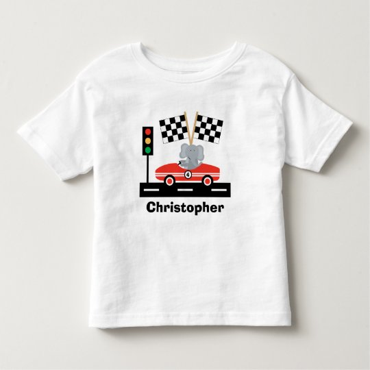 Cute Racecar T-Shirt with Elephant