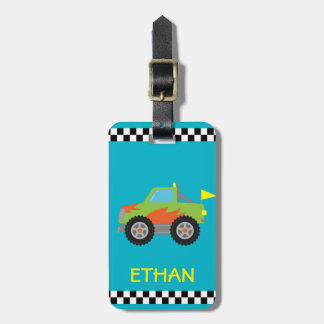 Cute Racing Green Monster Truck for Boys Luggage Tag