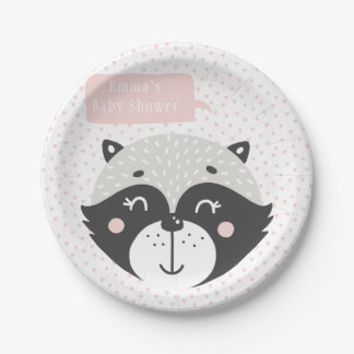Cute Racoon | Baby Shower Paper Plates