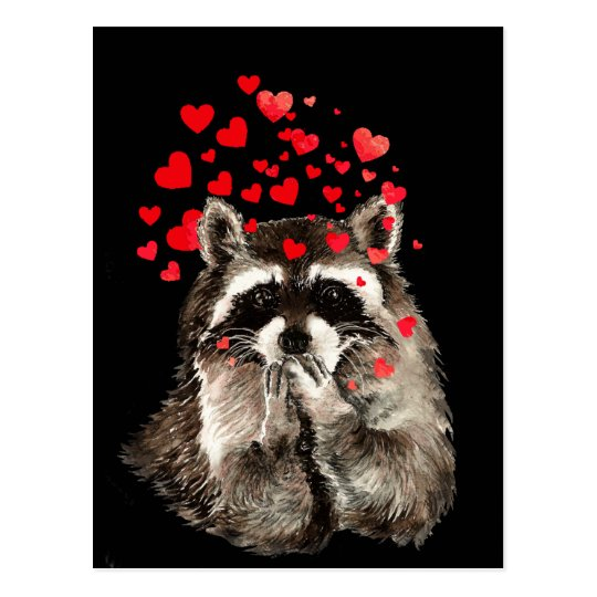 Cute Racoon Blowing Kisses Love Hearts Postcard