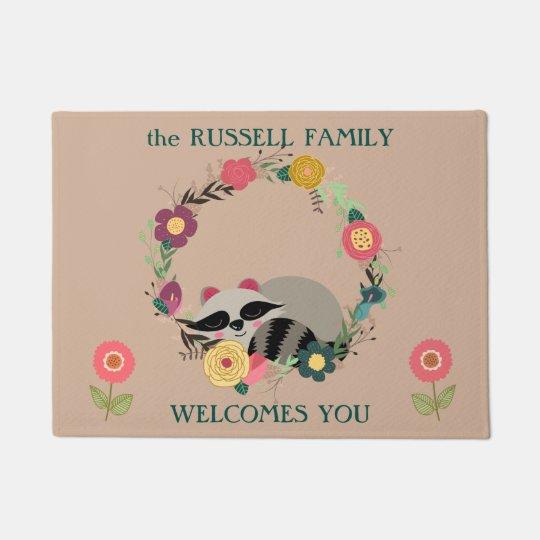 Cute Racoon in Floral Wreath Doormat