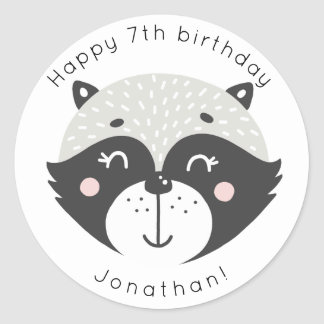 Cute Racoon | Personalized Birthday Stickers