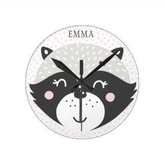 Cute Racoon Personalized Kids / Nursery Wall Clock