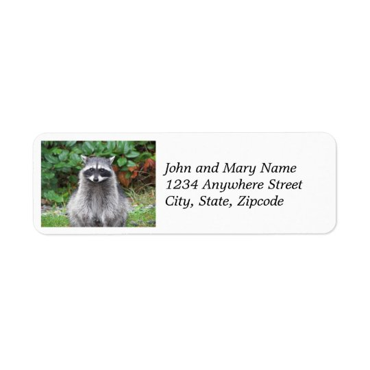 Cute Racoon Photo Return Address Labels